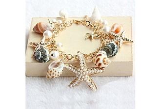 jewels starfish mermaid shell sea shells bracelets jewelry gold ocean