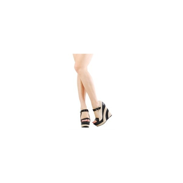 Liliana Paxton5 Black Ankle Strap Woven Stripe Wedges and Wo... - Polyvore