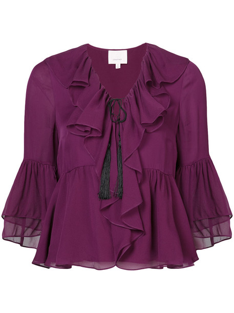 Cinq a Sept blouse women silk purple pink top