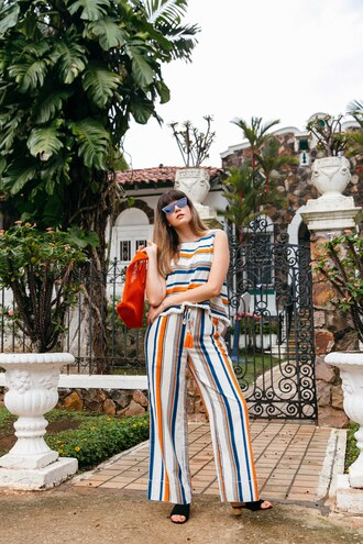 top tumblr crop tops stripes striped top matching set pants wide-leg pants striped pants shoes bag red bag sunglasses