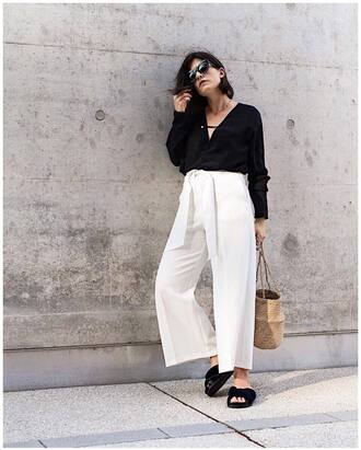 top blouse tumblr black blouse pants white pants wide-leg pants shoes slide shoes sunglasses