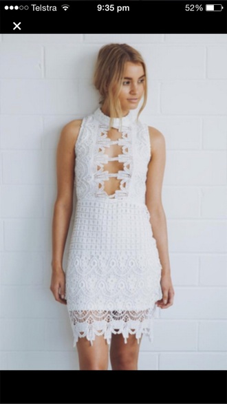 dress white dress white lace dress white lace lace dress cut-out dress cut out dress boho dress 'boho