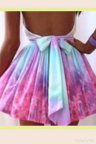 dress open back blue and pink white bow back dress cute dress skater dress