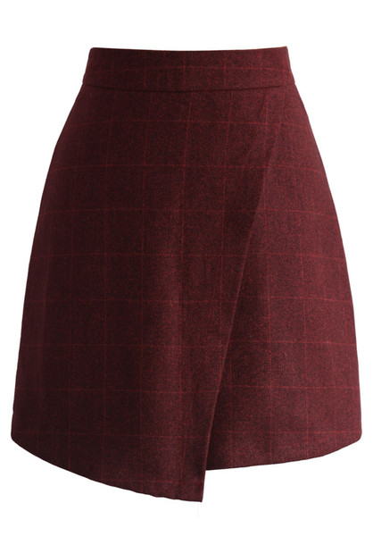 skirt chicwish grid wine