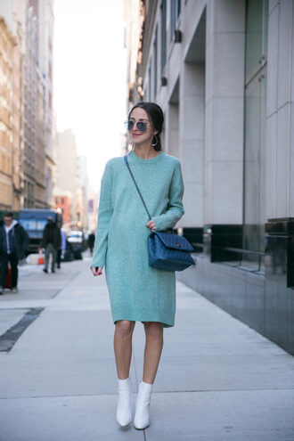 shoes white boots boots dress sweater sweater dress bag chanel sunglasses earrings