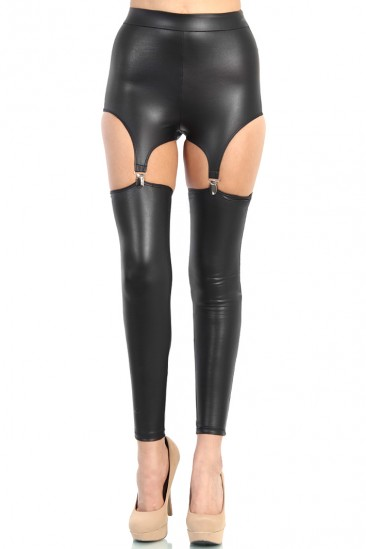 LoveMelrose.com From Harry & Molly | High Waisted Leather Suspender Leggings - Black