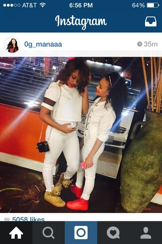 shirt reginae party 0g_manaaa cute besties jeremy scot jeremy scott mesh mesh sleeves crop tops high waisted jeans white white crop tops white shirt all white everything all white party white jacket red red air force ones shoulder bag blouse jeans shoes