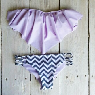 swimwear lavender gray chevron