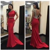 dress,cape sleeve dress,red dress,beaded dress,backless dress,mermaid prom dress
