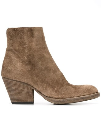 women boots leather suede brown shoes