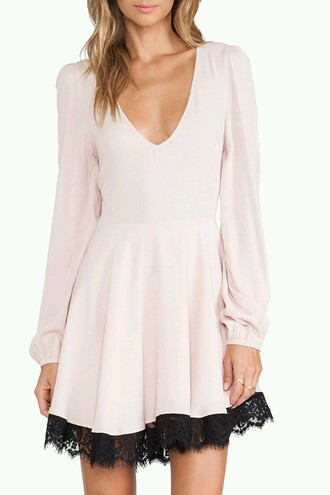 dress lace pink black long sleeves cute