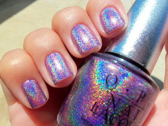 glitter silver jewels sparkling nail polish holographic opi rainbow colorful painted cool sparkles