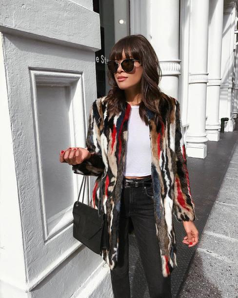 coat tumblr printed coat multicolor faux fur coat top white top sunglasses bag black bag denim jeans black jeans
