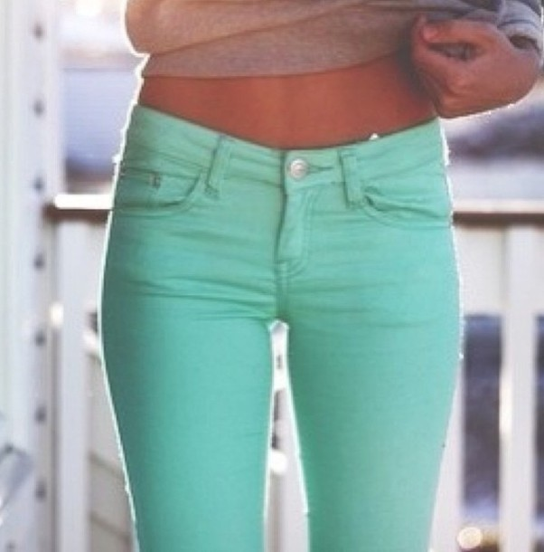 Jeans: pants, blue, green - Wheretoget