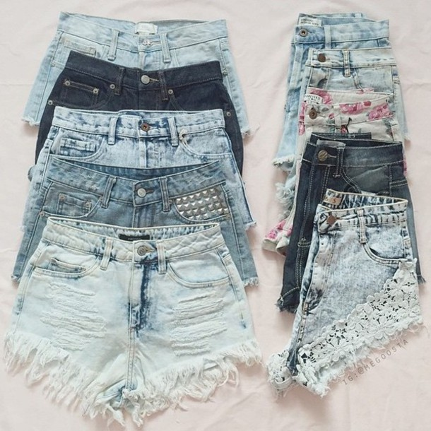 jeans shorts style shorts lace ripped shorts high waisted denim shorts lace shorts light washed denim medium wash