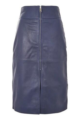 skirt leather skirt zip leather navy blue