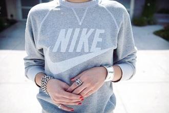 nike sweatshirt grey jumper jewels jewellry jewelry silver jewelry silver ring unisex sporty chic
