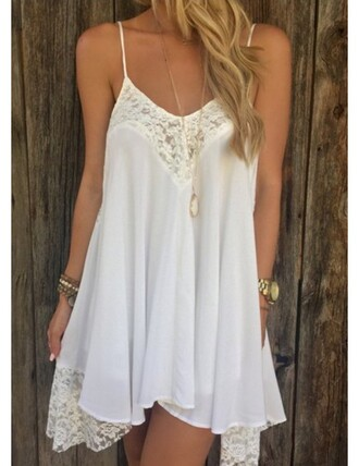 dress white summer fashion style lace girly casual cute flowy spring feminine trendy stylish rose wholesale-jan girl girly wishlist white dress