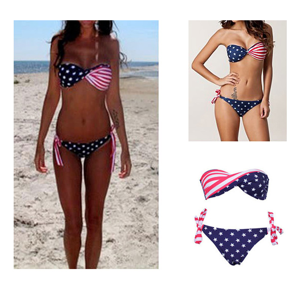 1set Sexy Stars Stripe American USA Flag Padded Bikini Swimwear Bathing Swimsuit | eBay