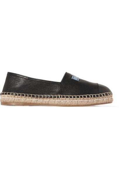 Prada espadrilles leather black shoes