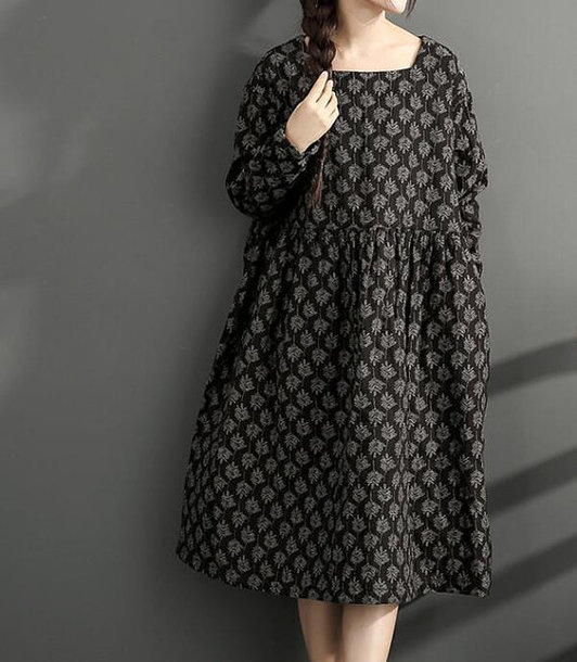 dress black dress winter bottoming dress