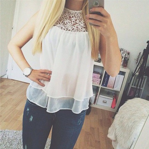 Blouse Shirt Cute White Floral Photography Girl Tumblr Outfit Instagram Vogue Boho