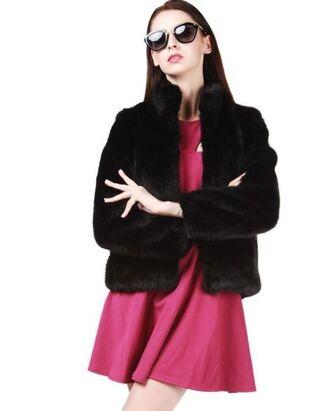 faux fur coat black coat www.ustrendy.com black faux fur high neck stand up collar