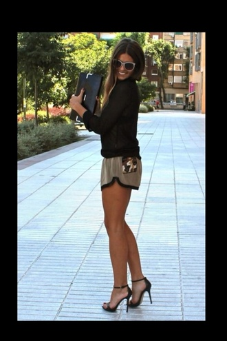 shorts clothes jumpsuit clutch bag shoes high heels black high heels