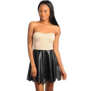 Womens fashion summer tan and black strapless shift dress