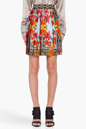 Givenchy Multicolor Iris Print Silk Skirt for women | SSENSE