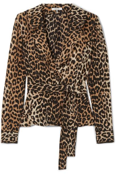 Ganni top wrap top print silk leopard print
