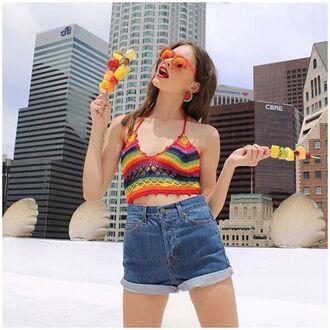 blouse nastygal top crochet crochet crop top rainbow halter neck