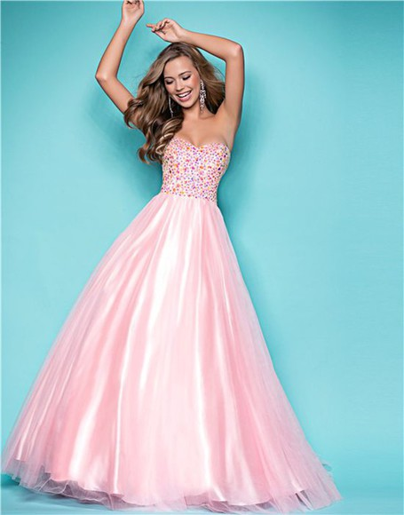 embellished prom dress puffy chiffon strapless glitter princess a line sweetheart dresses a line prom gowns