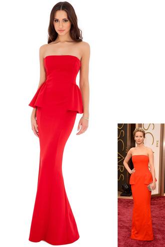 dress red dress jennifer lawrence oscars 2014 red carpet celebrity strapless peplum