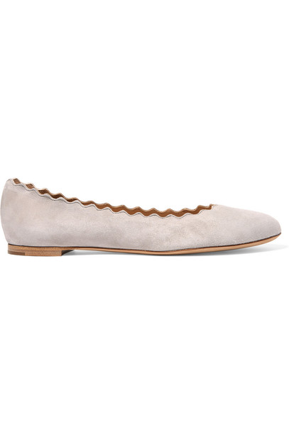 ballet scalloped flats ballet flats suede shoes
