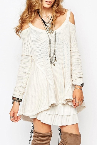dress fall outfits winter outfits knitwear off the shoulder long sleeves casual cute girly