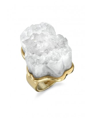Rough crystal cocktail ring / gold / 5