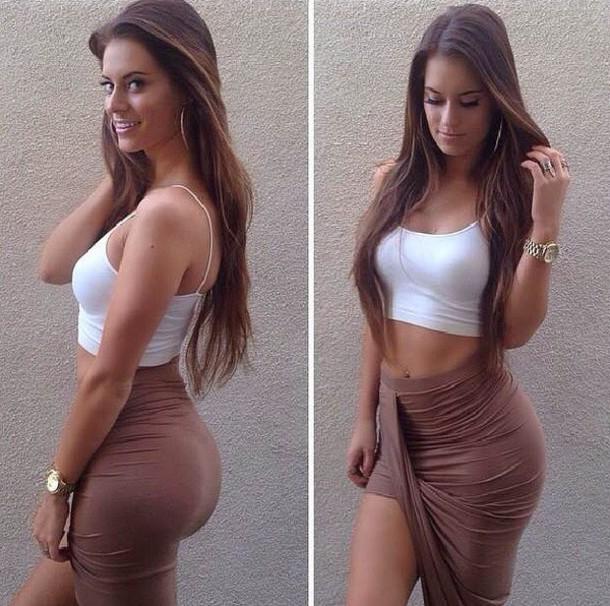 skirt brown skirt skirt whitecroptop tank top earphones