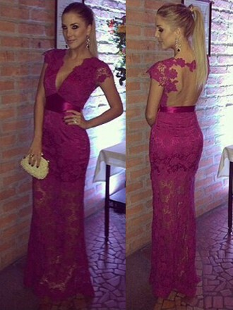 dress elegant purple prom open back gown homecoming dress formal lace dressofgirl