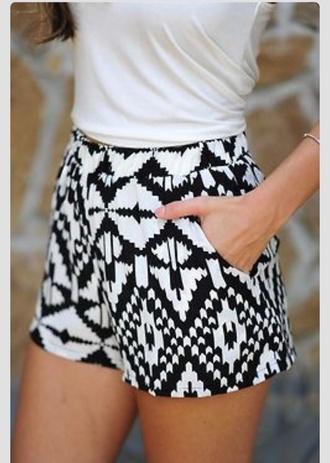black and white black aztec shorts