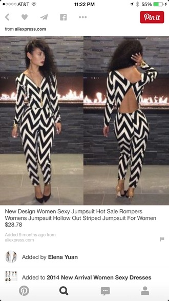 jumpsuit hollow striped black and white