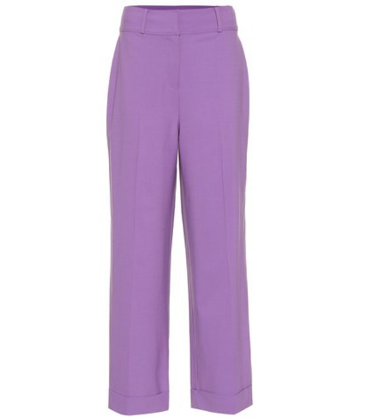 Diane von Furstenberg Cropped high-rise wide-leg pants in purple
