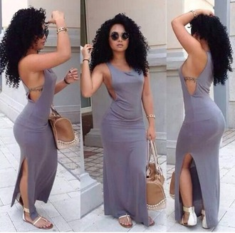 dress summer dress summer outfits grey dress dress with slit