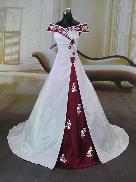 Red And White Wedding Dress.Pnina Ball Gown Wedding Dresses Romantic Red White Satin Wedding Dresses Embroidery 2016 Off Shoulder Ball Gown Beach Bridal Gowns Beaded Wedding