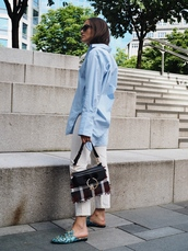 bag,tumblr,JW Anderson bag,tartan,pants,white pants,mules,shirt,blue shirt,shoes