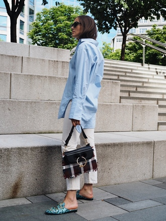 bag tumblr jw anderson bag tartan pants white pants mules shirt blue shirt shoes