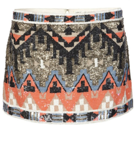 Allsaints aztec skirt in pink (dust/coral)