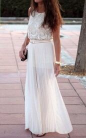 skirt,white,stone,nude,lace,belt,top,pleated,pleat