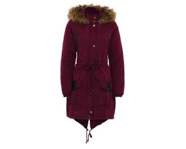 Jacket: burgundy, oxblood, winter outfits, faux fur jacket ...