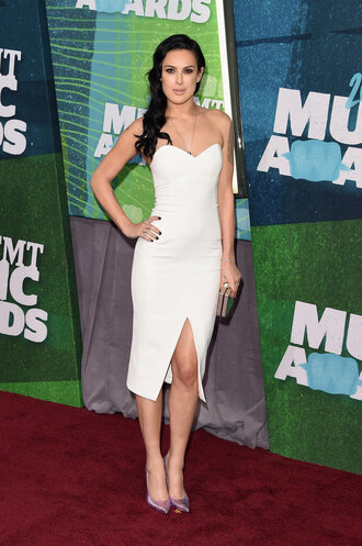 dress cmt awards strapless white bustier dress slit dress prom dress rumer willis